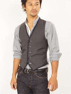 Band of Outsiders Wool Stripe Odd Vest: Grey