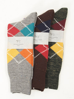 Bassett Walker Argyle Socks: Grey, Brown, Green