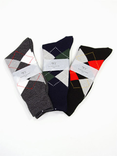 Bassett Walker Argyle Socks: Grey, Navy, Black