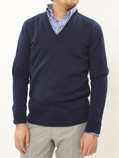 Tabloid News Wholegarment Cotton V-neck Sweater 19160900: Navy