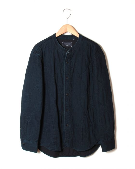 Hand Room Band Collar Shirt Jacket 8074-1102: Indigo