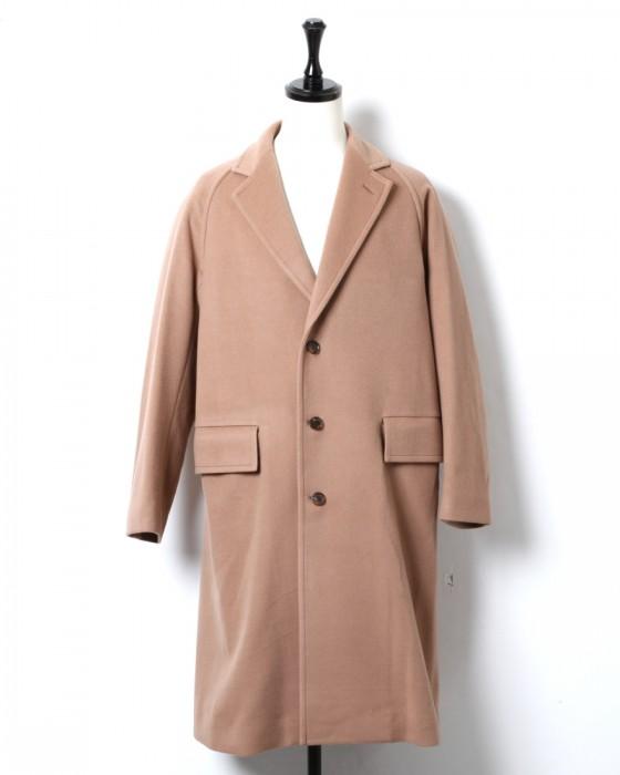 Auralee Cashmere Wool Mosser Chesterfield Coat A9AC01MC: Light Brown
