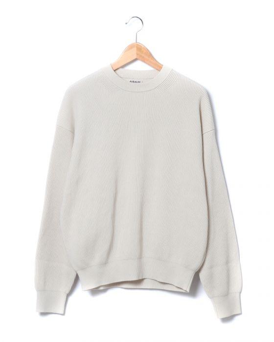 Auralee Super Hard Twist Rib Knit Pullover A7SP01TR: Ivory