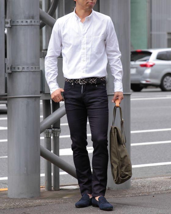 m's braque(エムズブラック) ホワイトボタンダウンシャツ
