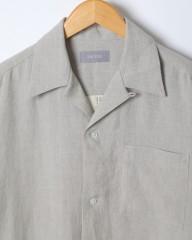 ENCENS(エンソン)ピンチェックリネンオープンカラー半袖シャツ