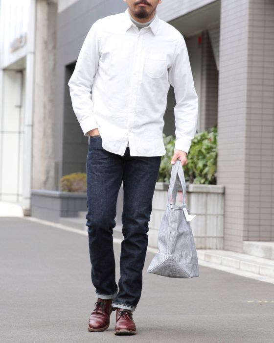 HAND ROOM起毛レギュラーシャツ【Short Regular Shirt/Raised Off White】ma
