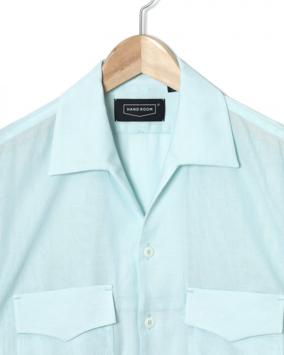 HAND ROOMドビー織オープンカラーシャツ【Cotton Dobby Cloth Open Collar Shirt】02l
