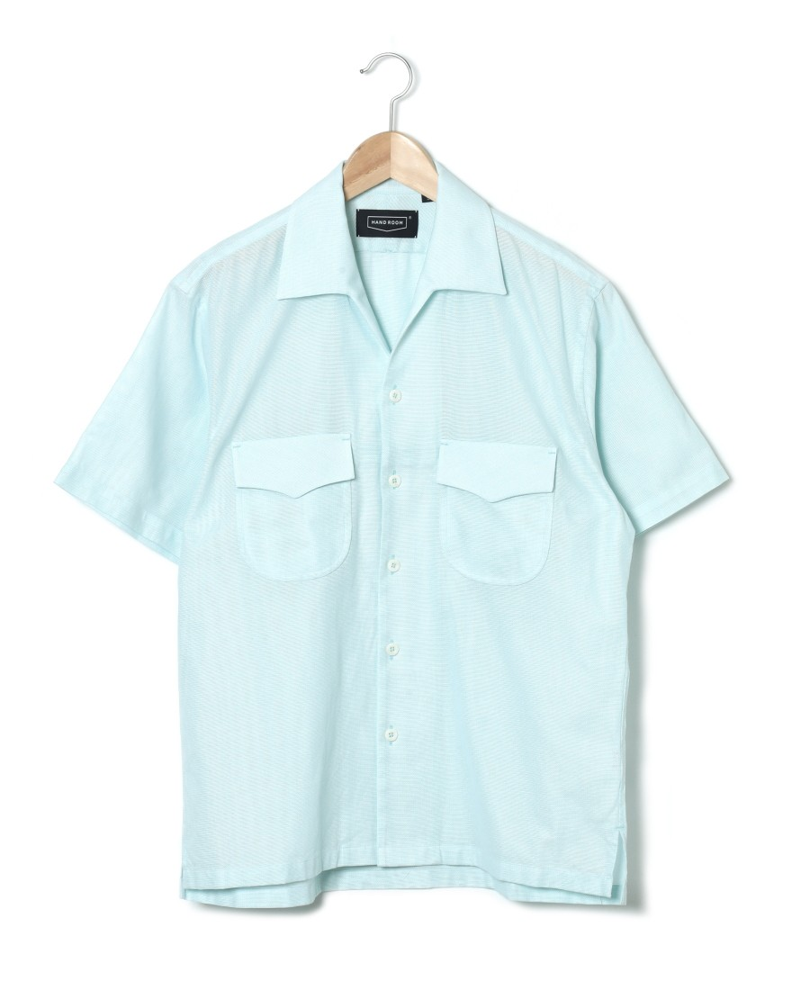 HAND ROOMドビー織オープンカラーシャツ【Cotton Dobby Cloth Open Collar Shirt】c0