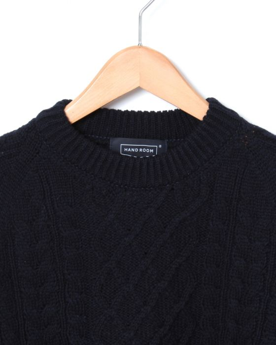 Hand Room Fisherman Sweater 8074-1302: Navy