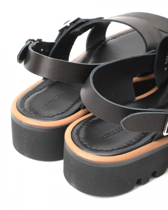 AURALEEダブルストラップレザーサンダル【LEATHER BELT SANDALS MADE BY FOOT THE COACHER】03l