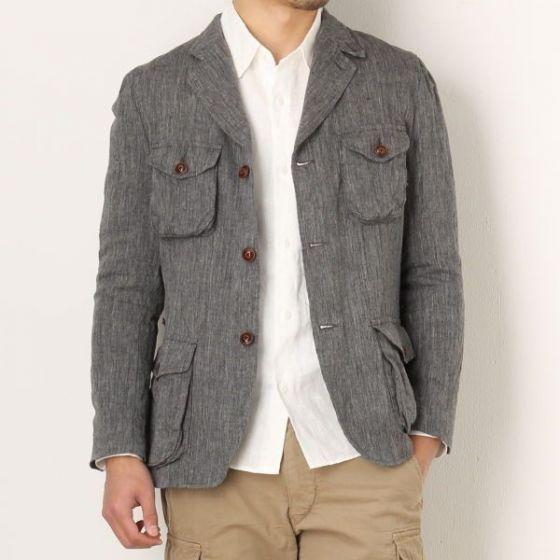 Bibury Court Linen 3-button Jacket 14-BA-04: Grey