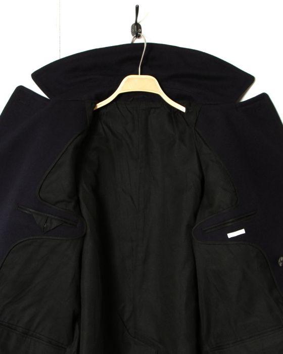 Comoli Cavalier Melton Double Breasted Coat 15F-04005: Navy
