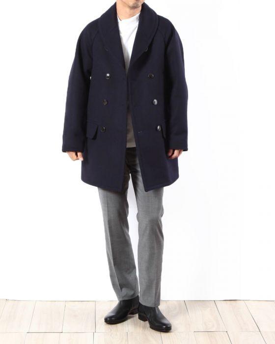 Comoli Cavalier Melton Shawl Collar Coat 15F-04006: Navy