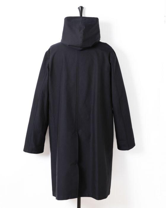 Auralee Finx Double Cloth Hooded Coat A6SC01FD: Navy / Black