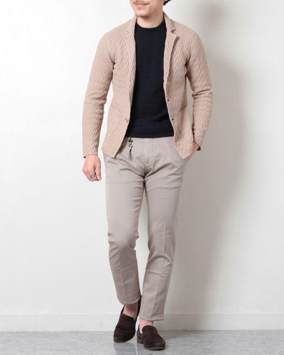 PANICALE(パニカーレ) サマーコットンニット ジャガード織り シングル3Bジャケット