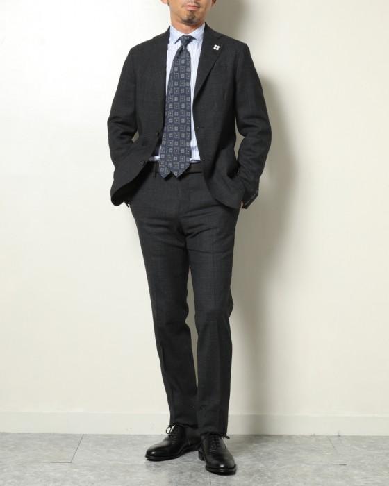 LARDINI(ラルディーニ) ストレッチウール グレンチェック パッカブル3Bシングルスーツ