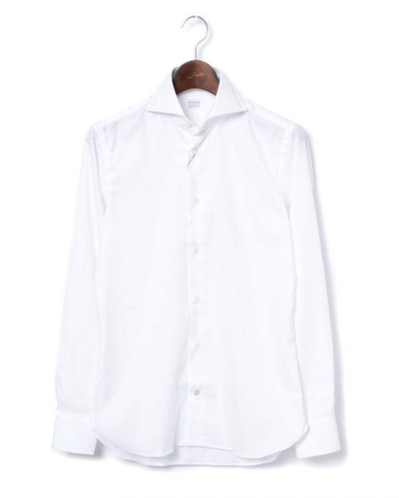 BORRIELLO(ボリエッロ) ワイドカラー バスケット織りソリッド ドレスシャツ