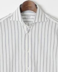 BORRIELLO(ボリエッロ)ワイドカラー コットンリネンストライプ ドレスシャツ