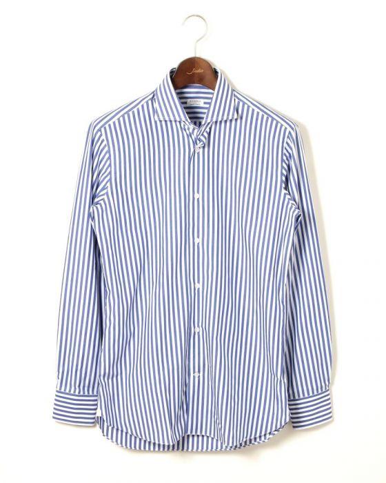 BORRIELLO(ボリエッロ) ワイドカラー ロンドンストライプ3箇所ハンド ドレスシャツ【襟型BORRIELLO】