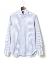 BARBA(バルバ)ワイドカラー リネンストライプシャツ