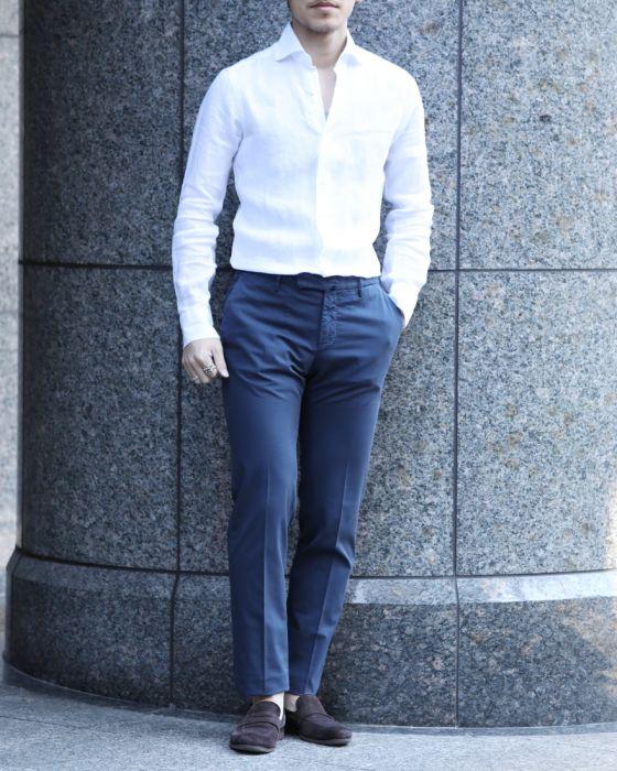 BARBA(バルバ) ワイドカラー ホワイト リネンシャツ【襟型401 / DANDYLIFE】