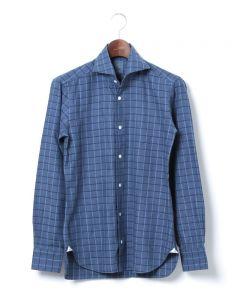 <東京ライフ> ヘリンボーンチェック ネイビーシャツ【襟型NEW BRUNO / DANDYLIFE】画像