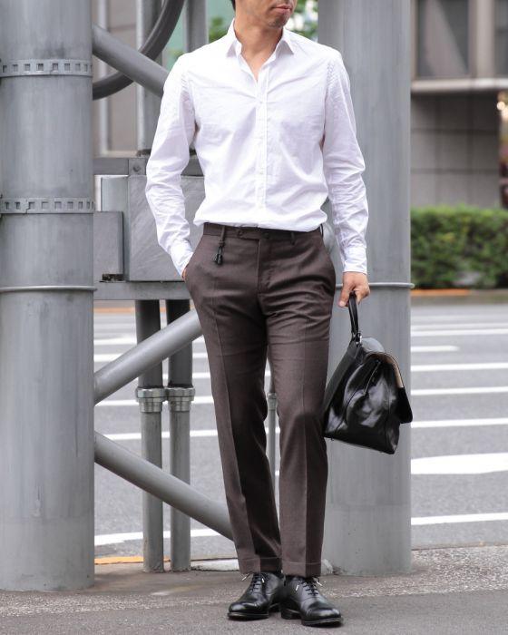 Bagutta(バグッタ) ワイドカラーコットンポプリン ホワイトシャツ