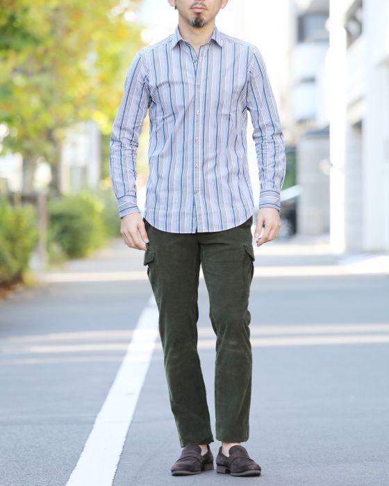 Bagutta(バグッタ) セミワイドカラー ネイビーマルチストライプシャツ【襟型BERLINO/ベルリーノ】