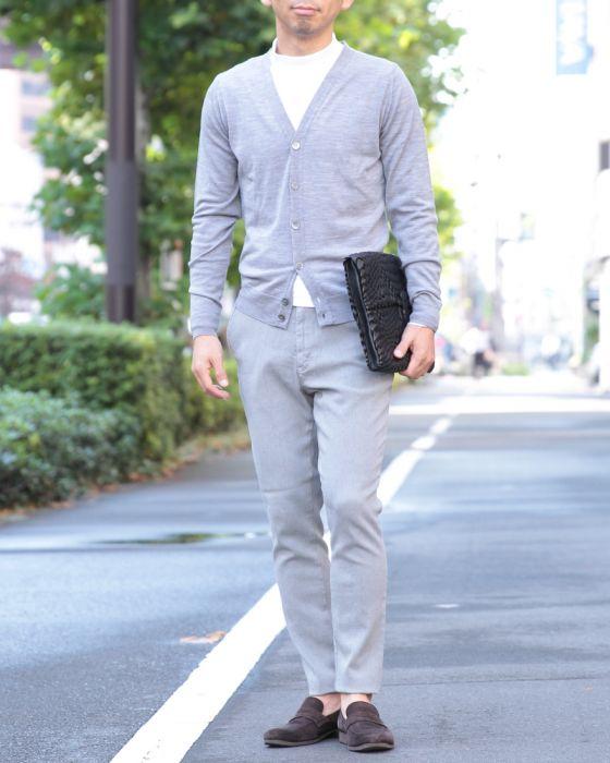JOHN SMEDLEY(ジョンスメドレー) メリノウール Vネックカーディガン【A3833-JAPAN FITモデル】