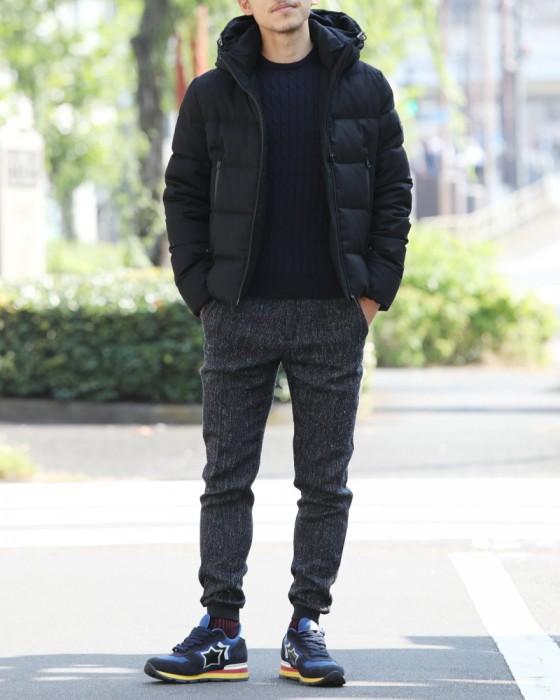 T-JACKET(ティージャケット) T-JK PT ラムウール3者混 メランジネイビーニット 裾リブパンツ