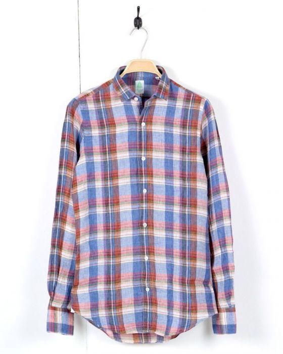 リネンチェックシャツ【SILVANO】