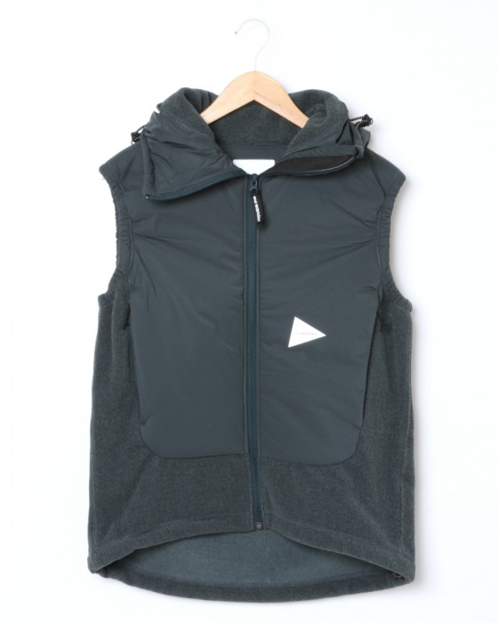 and wander中綿フリースベスト【top fleece vest】c1