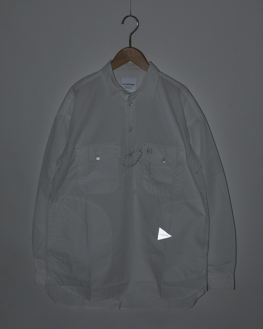 and wanderロングスリーブオーバーシャツ【CORDURA typewriter long sleeve over shirt 】07l
