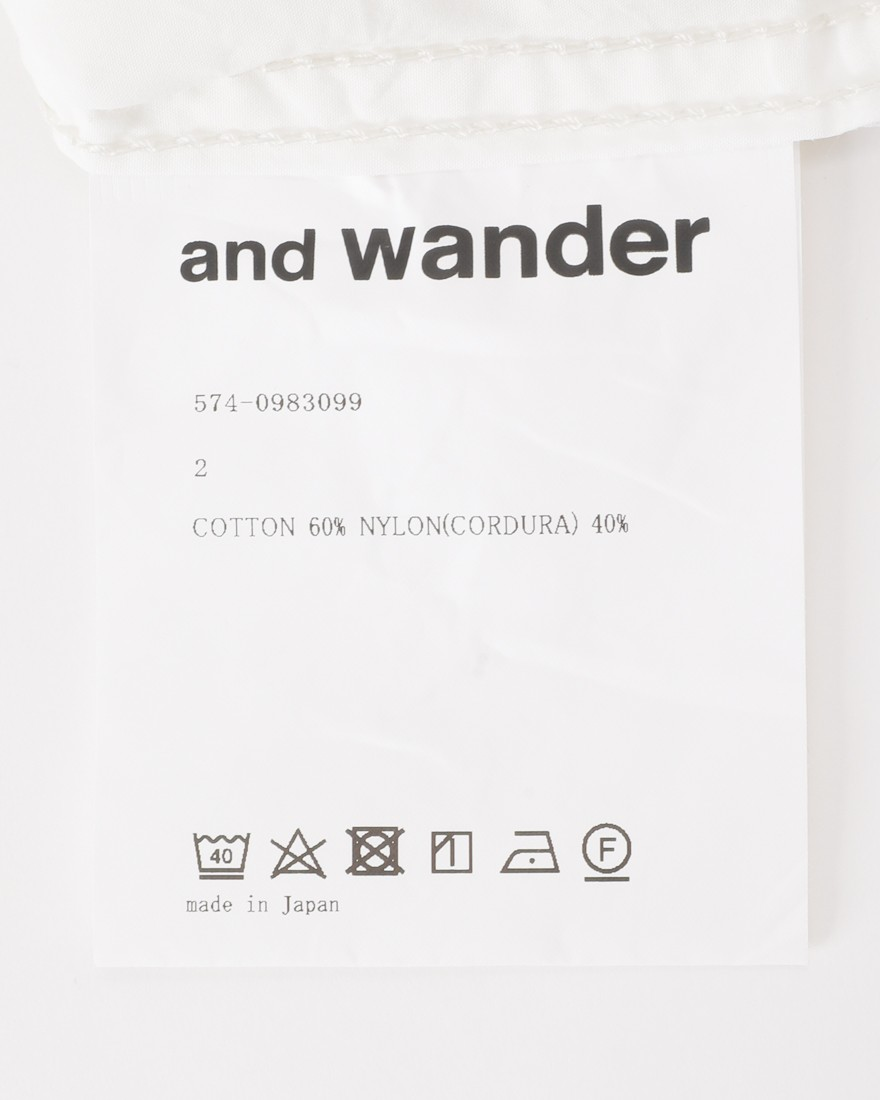 and wanderロングスリーブオーバーシャツ【CORDURA typewriter long sleeve over shirt 】14l