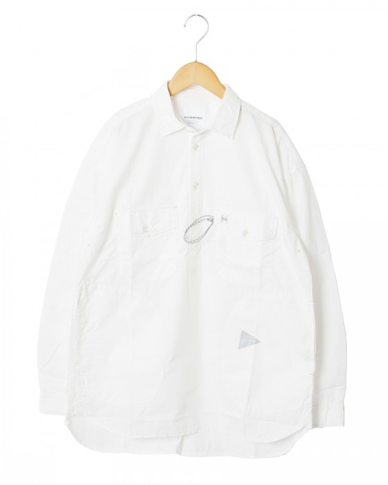 and wanderロングスリーブオーバーシャツ【CORDURA typewriter long sleeve over shirt 】c0