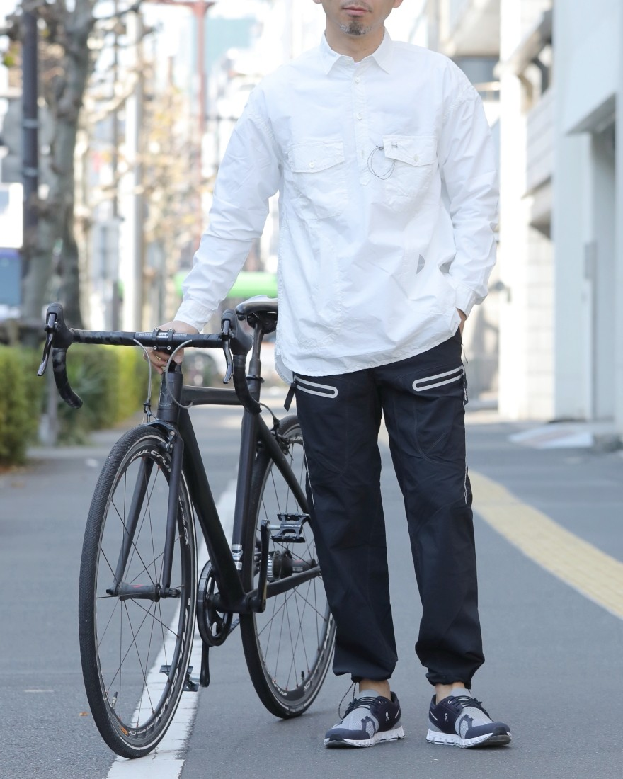 and wanderロングスリーブオーバーシャツ【CORDURA typewriter long sleeve over shirt 】ma